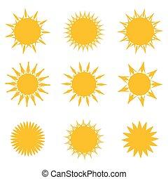 symbols., vecteur, ensemble, soleil