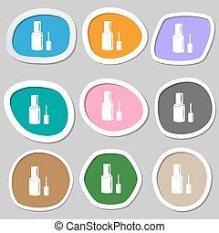 symbols., veelkleurig, spijker, vector, papier, fles, pools, stickers.