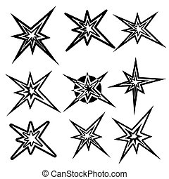 symbols., vetorial, jogo, relampago