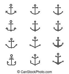 symbols., vettore, set, ancorare
