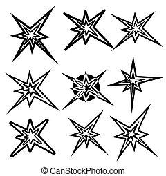 symbols., vettore, set, lampo