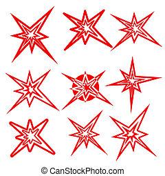 symbols., wektor, komplet, piorun