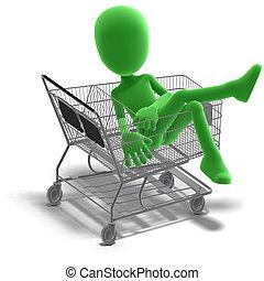 symbolsk, 3, mandlig, toon, karakter, går, shopping., 3,...