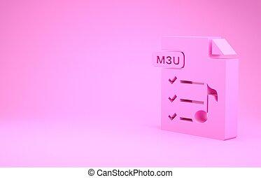 symbool., 3d, pictogram, illustratie, document., render, knoop, m3u, bestand, concept., minimalism, vrijstaand, roze, downloaden, achtergrond.