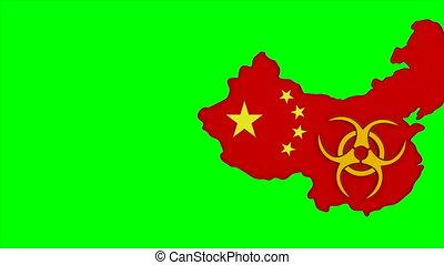 symbool, achtergrond., vrijstaand, groene, china, 3d, render...