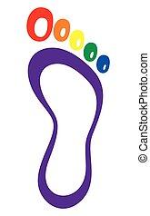 symbool, afdrukken, voet, -, lgbt, vlag