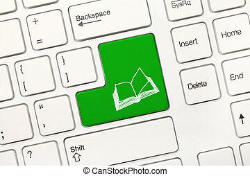 symbool, -, boek, groen sleutel, toetsenbord, conceptueel, witte
