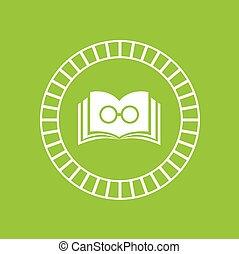 symbool, boek, groene achtergrond