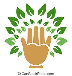 symbool, boompje, hand