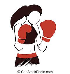 symbool, boxing, vrouw