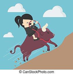 symbool, businesswoman, paardrijden, succesvolle , stier, steegjes, ascends, steil, investering