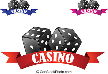 symbool, casino, badge, dobbelsteen, of