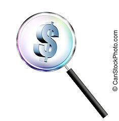 symbool, dollar, vergroten