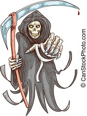 symbool, dood, halloween, scythe., maaimachine