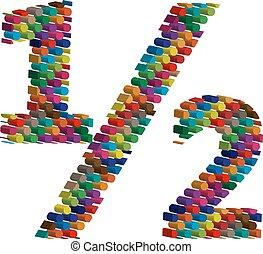 symbool, driedimensionaal, kleurrijke