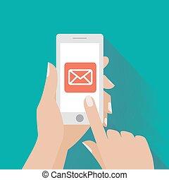 symbool, email, telefoon, aanrakende hand, scherm, smart