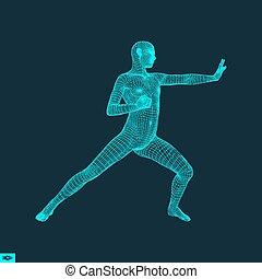 symbool., fighter., krijgshaftig, sports., fitness, arts., model, sporten, man., 3d