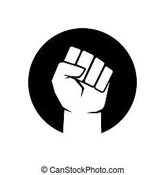 symbool, fist, black , dichtgeklemde, leven, van belang zijn