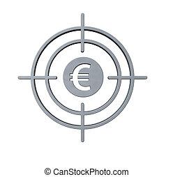 symbool, geweer, in het oog krijgen, eurobiljet