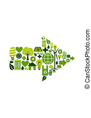 symbool, groene, richtingwijzer, iconen