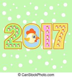 symbool, kalender, 2017, figuur, haan
