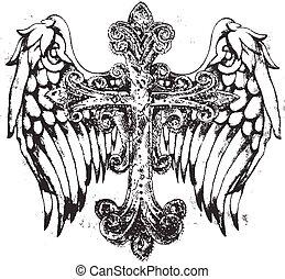 symbool, koninklijk, kruis, vleugel