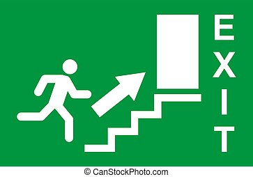 symbool., man, afslaf, pictogram, vector, rennende , helpen, teken., veiligheid, evacuatie, deur, ontsnapping