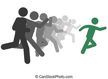 symbool, man, en, mensen, rennen een stam, of, leider, lood