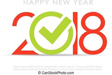 symbool, mark, 2018, jaar, nieuw, controleren