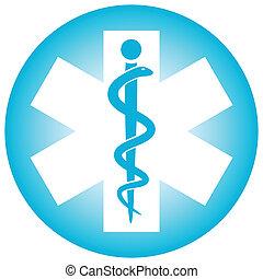symbool, medisch, caduceus, slang, stok