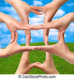 symbool, medisch, kruis, van, handen