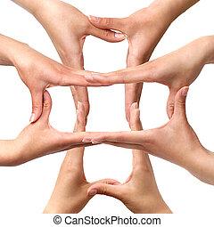 symbool, medisch, kruis, van, handen, vrijstaand