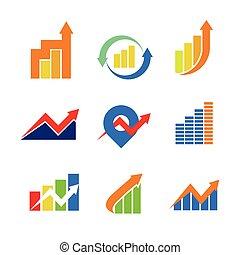 symbool, meldingsbord, financiële grafiek, verpakken