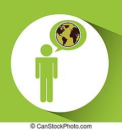 symbool, milieu, globe, grafisch