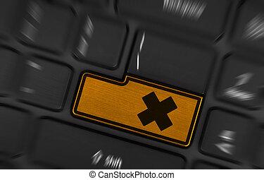 symbool, op, knoop, toetsenbord, irritaion