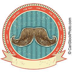 symbool, papier, oud, achtergrond, set, texture., ouderwetse , mustaches