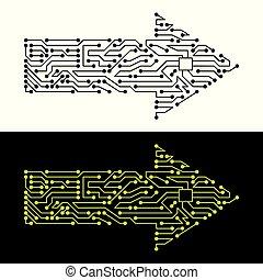 symbool, plan, elektrisch, richtingwijzer