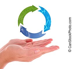 symbool, recycling, hand
