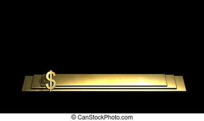 symbool, ronddraaien, staaf, $, goud