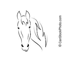 symbool, schets, hoofd, paarde, vrijstaand, op wit, achtergrond