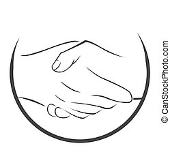 symbool, schudden, hand