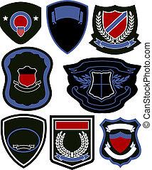 symbool, set, badge, schild