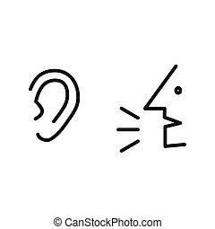 Symbool, spreken, luisteren. Ear., eps10, eenvoudig, icon., man ...