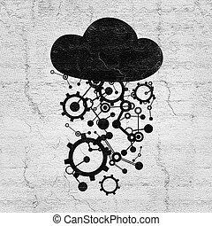 symbool, technologie, wolk