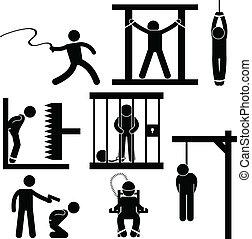 symbool, uitvoering/model, straf, foltering