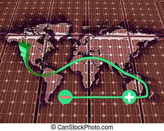 symbool, van, de, elektrisch, auto's, op, wereldkaart,...