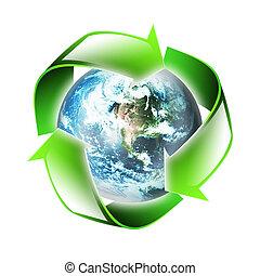symbool, van, de, milieu