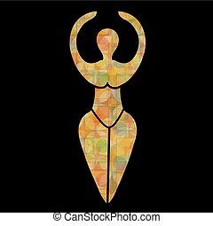 symbool, van, de, wiccan, godin