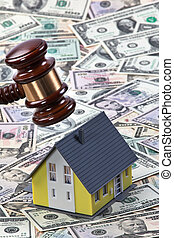 symbool, van, eigendom, crisis, in, huisen