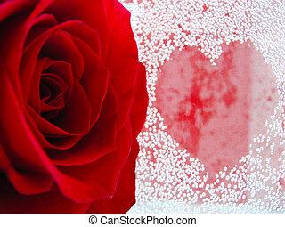symbool, van, hartstocht, en, liefde
